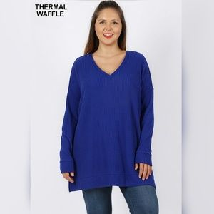 Tops - Be Mine Infinite Royal Blue Waffle Knit Top